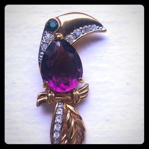 Vtg Jelly Belly Crystal Bird Gold Plated Brooch